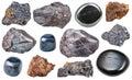Set of various hematite rocks and gemstones