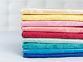 Set of various multicolored silk Royalty Free Stock Images