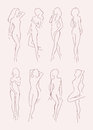 Set of various nude woman silhouette. Beautiful long-haired girl in different poses. Hand drawn vector illustration Royalty Free Stock Photo