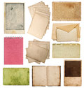 Set of various old paper sheets vintage photo album and book pages cards pieces isolated on white background Stock Photo