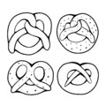 Set of various outline pretzels. Objects are separate from the background. German appetizer. Treats for the holidays. Bakery
