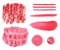 Set of various pink range lipstick smear Royalty Free Stock Photo