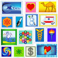 The set of various postage stamps Stock Photos