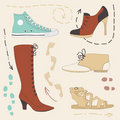 Set of Various Shoes Royalty Free Stock Image