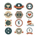 Set of various sports and fitness graphics and icons Royalty Free Stock Photo