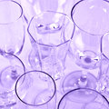 Set various stemmed glasses colorful background Royalty Free Stock Image