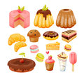 A set of various sweets, delicious, beautiful pastries and desserts.