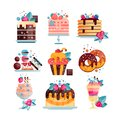 Flat vector set of various tasty desserts with gradients and texture. Cakes, cupcake, donuts, ice-cream, pancakes
