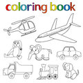 Set of various toys for coloring book with helicopter airplane doll elephant car lorry locomotive and puppy cartoon vector Royalty Free Stock Photos