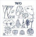 Set of Various Trees Patterns Vector Illustration