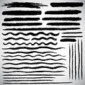 Set of various vector brush strokes, hand drawn lines