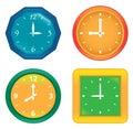 Set of various vector clocks Royalty Free Stock Photo
