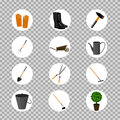 Set of various vector gardening items. Royalty Free Stock Photo