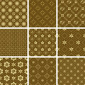 Set of various vector seamless golden pattern Royalty Free Stock Images