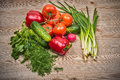 Set of various vegetables on the table close up Stock Photo