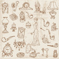 Set of Various Vintage Doodle Elements Stock Images