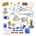 Set of various vintage objects for sewing, handicraft and handmade.