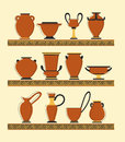 Set of vases collection in ancient greek style Royalty Free Stock Image