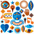 Set of vector abstract art symbols, different modern style graph Royalty Free Stock Photo