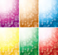 Set of vector abstract backgrounds with bokeh Royalty Free Stock Images
