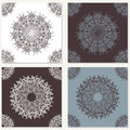 Set of vector abstract backgrounds with mandala elements. Decorative seamless. Vintage geometric textures. Lace pattern. Royalty Free Stock Photo