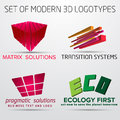 Set of vector abstract colorful geometric d logos illustration design Stock Photos