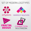 Set of vector abstract colorful geometric d logos illustration design Royalty Free Stock Photography