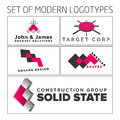 Set of vector abstract colorful geometric d logos illustration design Stock Photography