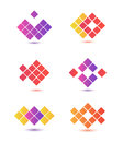 Set of vector abstract colorful icons logos isolated Royalty Free Stock Photo