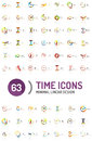 Set of vector abstract logo ideas, time concepts or clock business icon collection Royalty Free Stock Photo