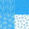 Set Vector Abstract Winter blue seamless pattern. Flower roses hand drawing illustration isolated on white background. Royalty Free Stock Photo