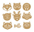 Set of vector animal faces in Scandinavian style Royalty Free Stock Photo
