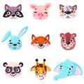 Set of vector animals in cartoon style. Cute smiley pig, panda, beaver, walrus, penguin, elephant, giraffe, llama. Cute animal fac