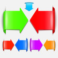 Set vector arrows in the form of paper stickers Royalty Free Stock Images