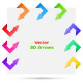 Set vector arrows in the form of paper stickers illustration for your design Stock Image