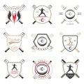 Set of Vector Badges Cricket