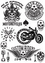 Set of vector badges, logos, design elements on theme motorcycles with skulls Royalty Free Stock Photo