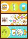 Set of vector banners with food background. Menu design for cafe Royalty Free Stock Photo