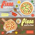 Set of vector banners with pizza restaurant advertisement. Woode
