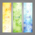 Set of vector banners with water drops on glass Royalty Free Stock Photo