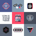 Set of vector barber shop labels emblems and design elements logos Royalty Free Stock Photos