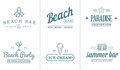 Set of Vector Beach Sea Bar Elements and Summer can be used as Logo Royalty Free Stock Photo