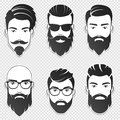 Set of vector bearded hipster men faces with different haircuts, mustaches, beards. Trendy man avatar, emblem, male icon