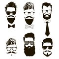 Hand drawn set of vector bearded men faces, hipsters with different haircuts, mustaches, beards, sunglasses.