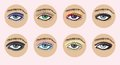 Set of vector beautiful female eyes. Royalty Free Stock Images