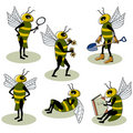 Set of vector bees Royalty Free Stock Photos