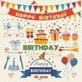 Set of vector birthday party flat design elements