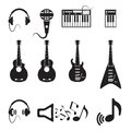 Set of vector black music icons on white Royalty Free Stock Photos