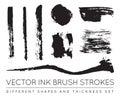 Set of Vector Black Pen Ink Brush Strokes. Grunge Ink Brush Stro