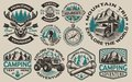Set of vector black and white logos for the camping theme
